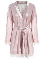 Belted Lace Panel Satin Sleeping Robe -