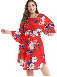 Plus Size Floral Layered Sleeve Dress -