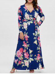 Plus Size Print Maxi Dress with Belt -
