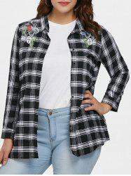 Plus Size Embroidered Plaid Shirt -