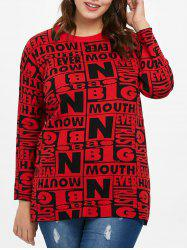 Plus Size Letter Color Block Sweater -