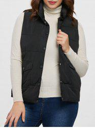 Plus Size Pockets Down Vest -
