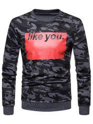Like You Camo Print Round Neck Sweatshirt -
