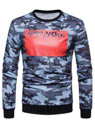 Sweat-Shirt à Col Rond avec Imprimé Camouflage et Inscription Like You - Bleu L