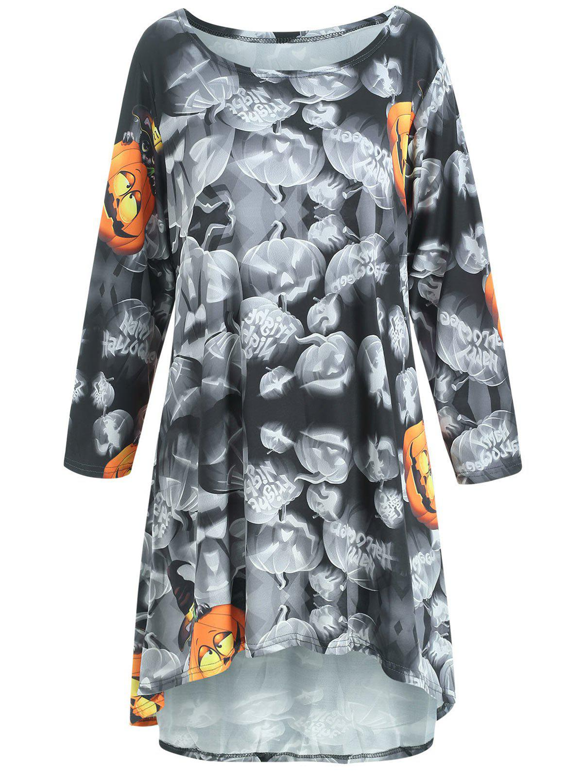 Fancy Pumpkin Print High Low Halloween Mini Dress