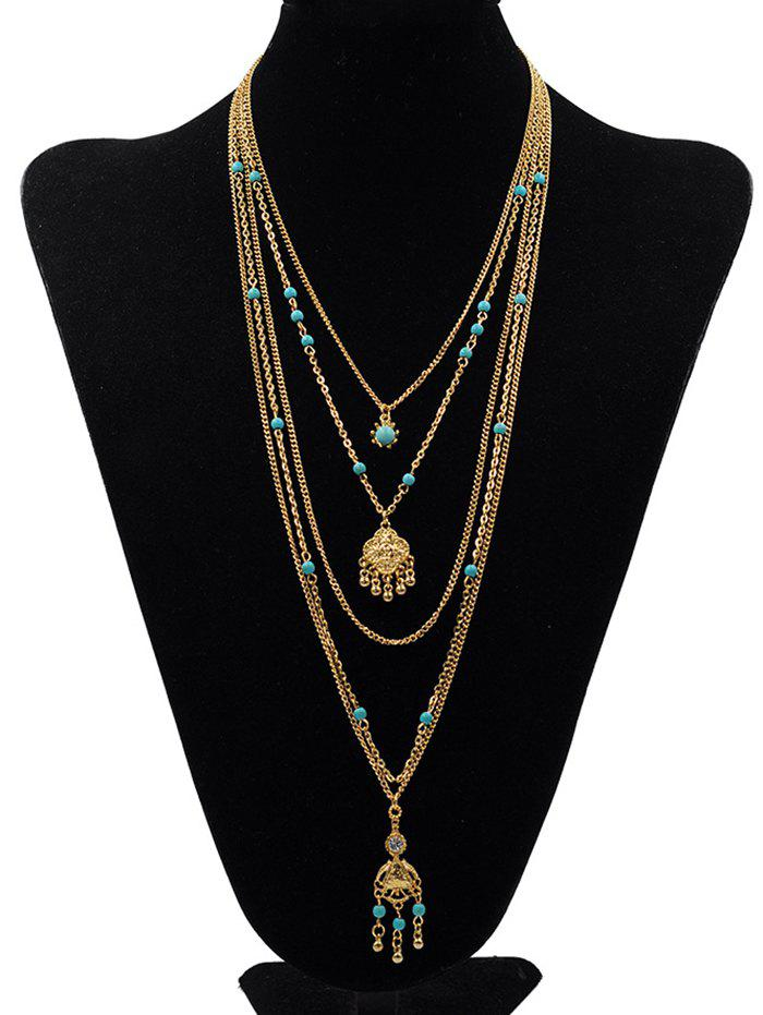 Trendy Stylish Multilayers Faux Turquoise Pendant Necklace