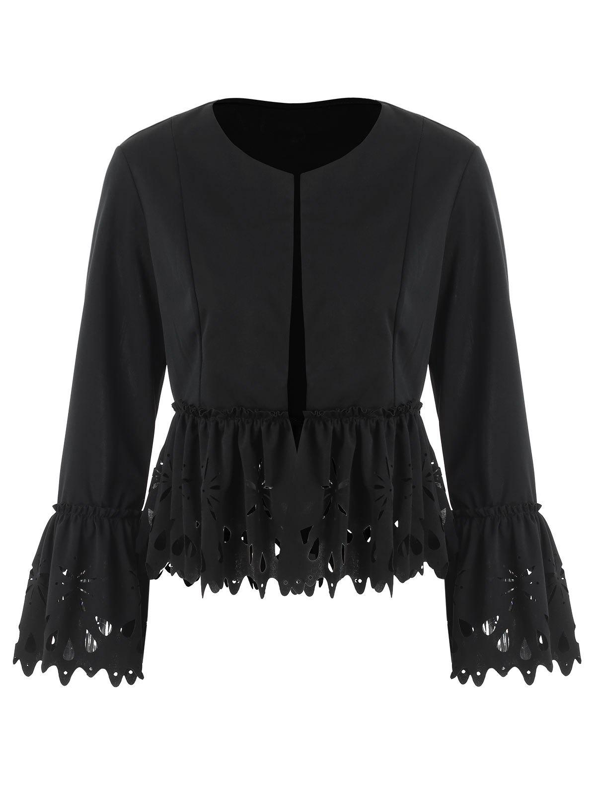 Fancy Bell Sleeve Laser Cut Peplum Jacket