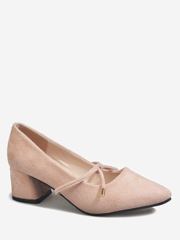 Discount Pointed Toe Knotted Block Heel Pumps