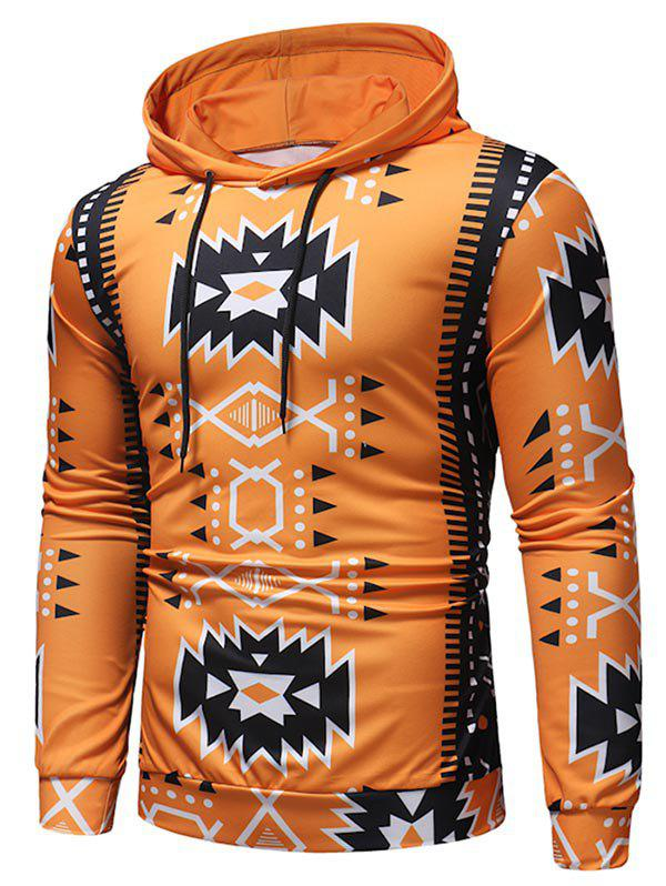 Fashion Ethnic Geometric Print Casual Hoodie