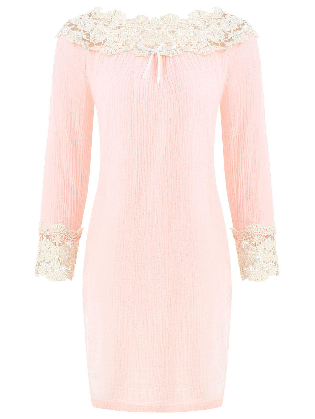 Outfit Lace Panel Bowknot Sleeping Dress