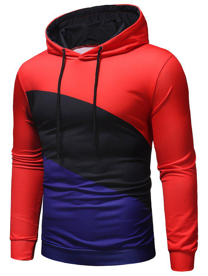 Fashion Casual Color Block Pullover Hoodie