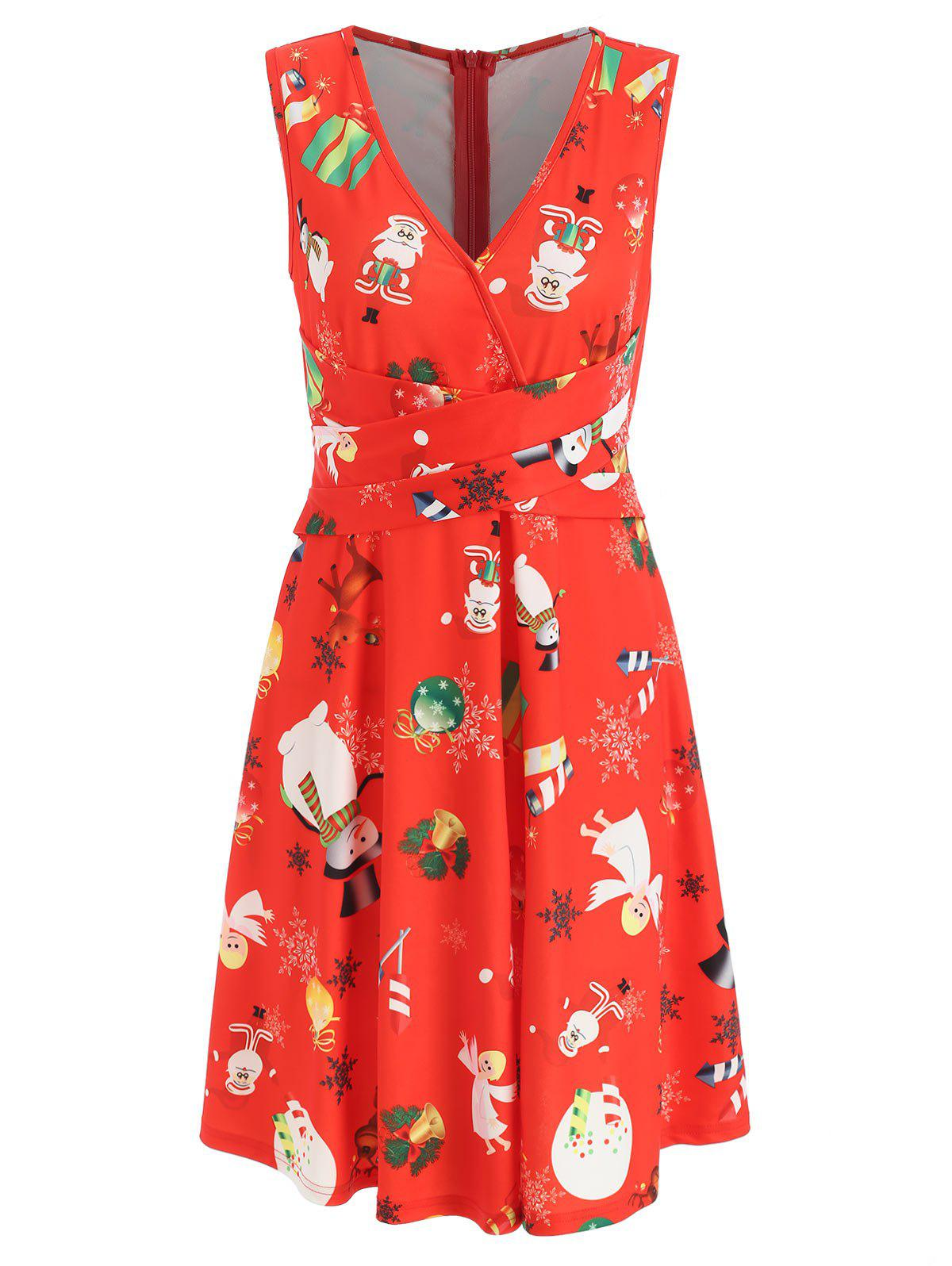 Outfit Criss Cross Printed Christmas Swing Dress