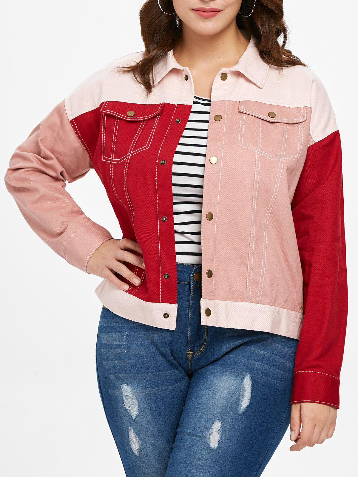 Buy Plus Size Double Pocket Patchwork Jacket