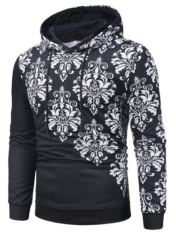 Affordable Asymmetric Printed Casual Drawstring Hoodie