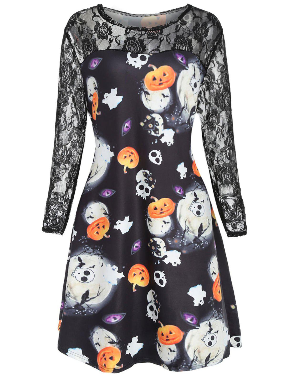 Affordable Plus Size Halloween Lace Panel Dress