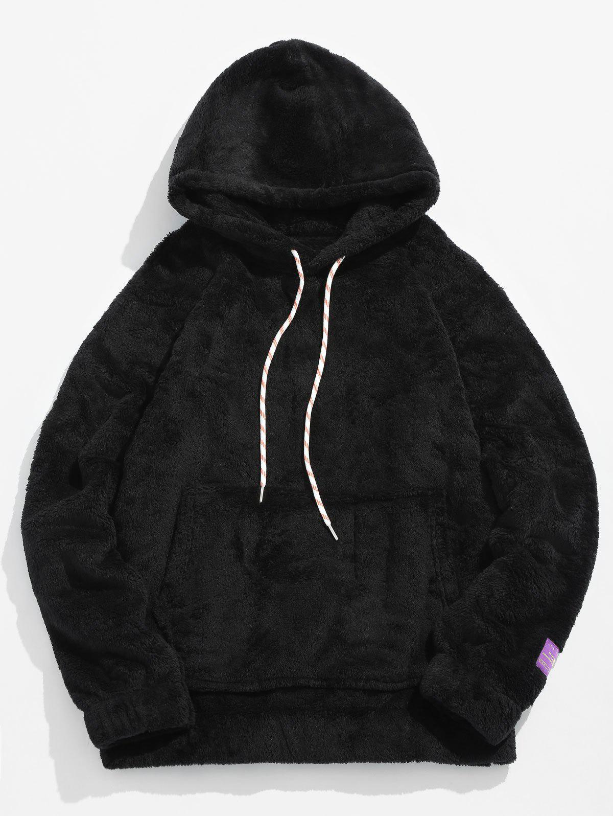 Fancy Pouch Pocket Patch Detail Fluffy Hoodie