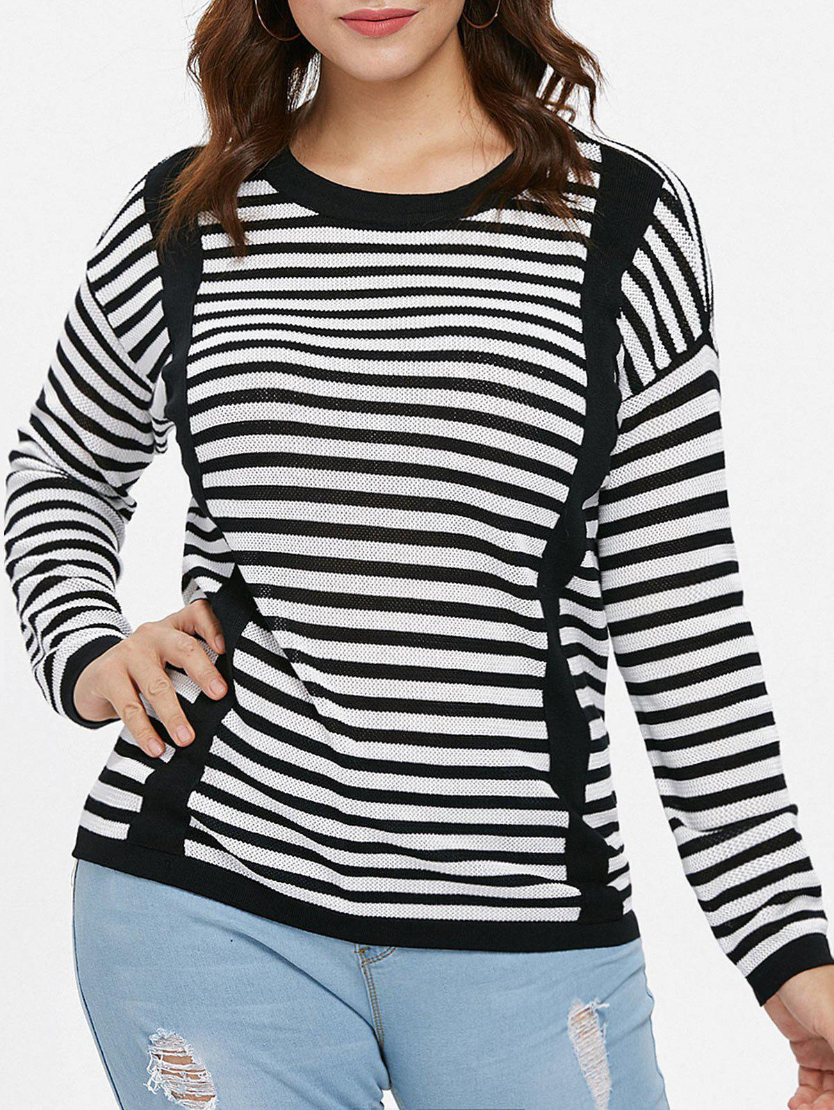 Fashion Plus Size Color Block Striped Sweater