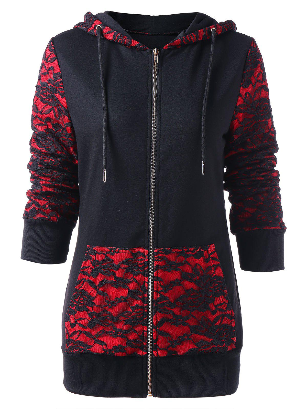 Fancy Roses Lace Insert Zip Up Hoodie