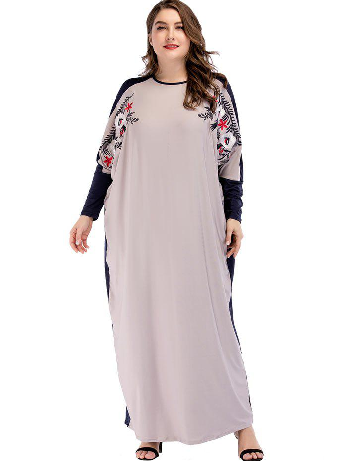 Unique Plus Size Batwing Sleeve Maxi Embroidered Dress