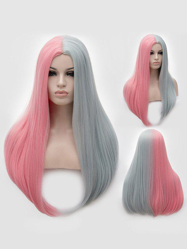 Hot Long Middle Part Two Tone Straight Party Synthetic Wig