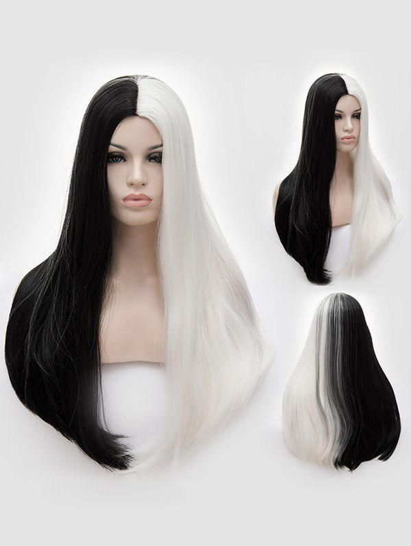 Fancy Long Middle Part Two Tone Straight Party Synthetic Wig