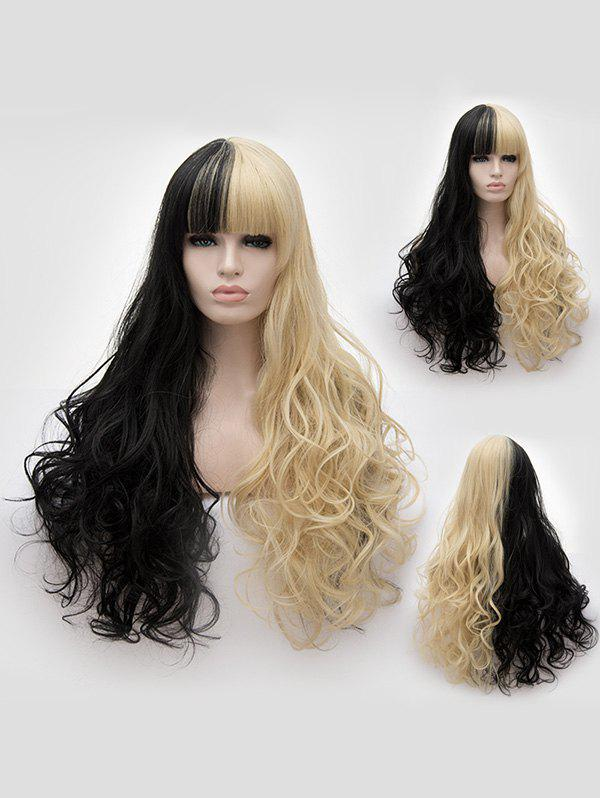 Outfit Full Bang Long Two Tone Wavy Cosplay Synthetic Wig