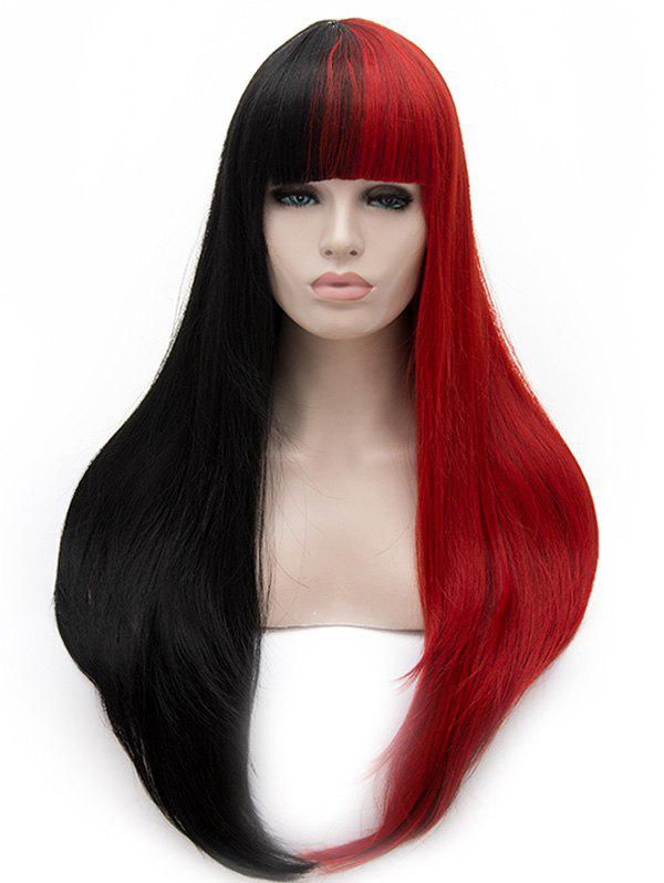 Cheap Long Full Bang Two Tone Straight Cosplay Party Synthetic Wig