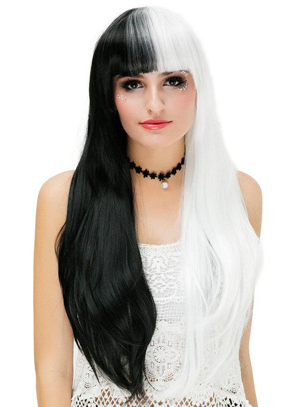 Trendy Long Full Bang Two Tone Straight Cosplay Party Synthetic Wig