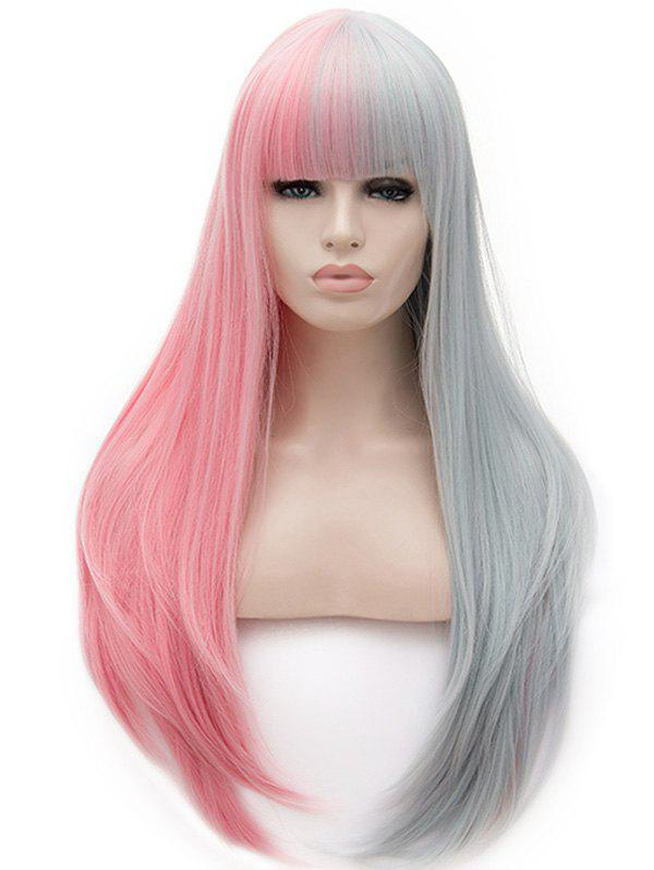 Online Long Full Bang Two Tone Straight Cosplay Party Synthetic Wig