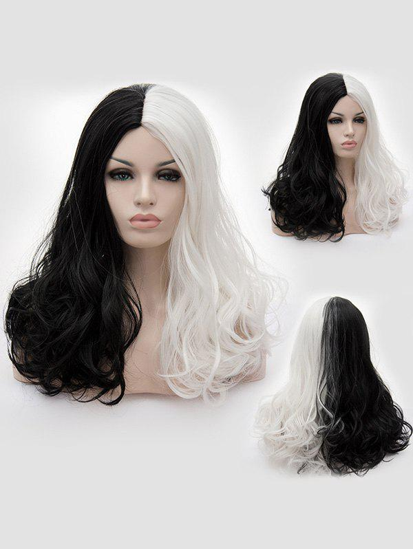 New Long Center Parting Two Tone Wavy Party Cosplay Synthetic Wig