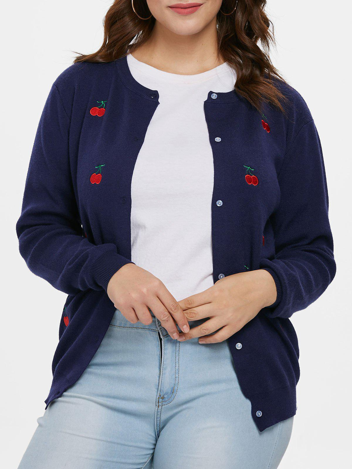 Hot Plus Size Cherry Patch Cardigan