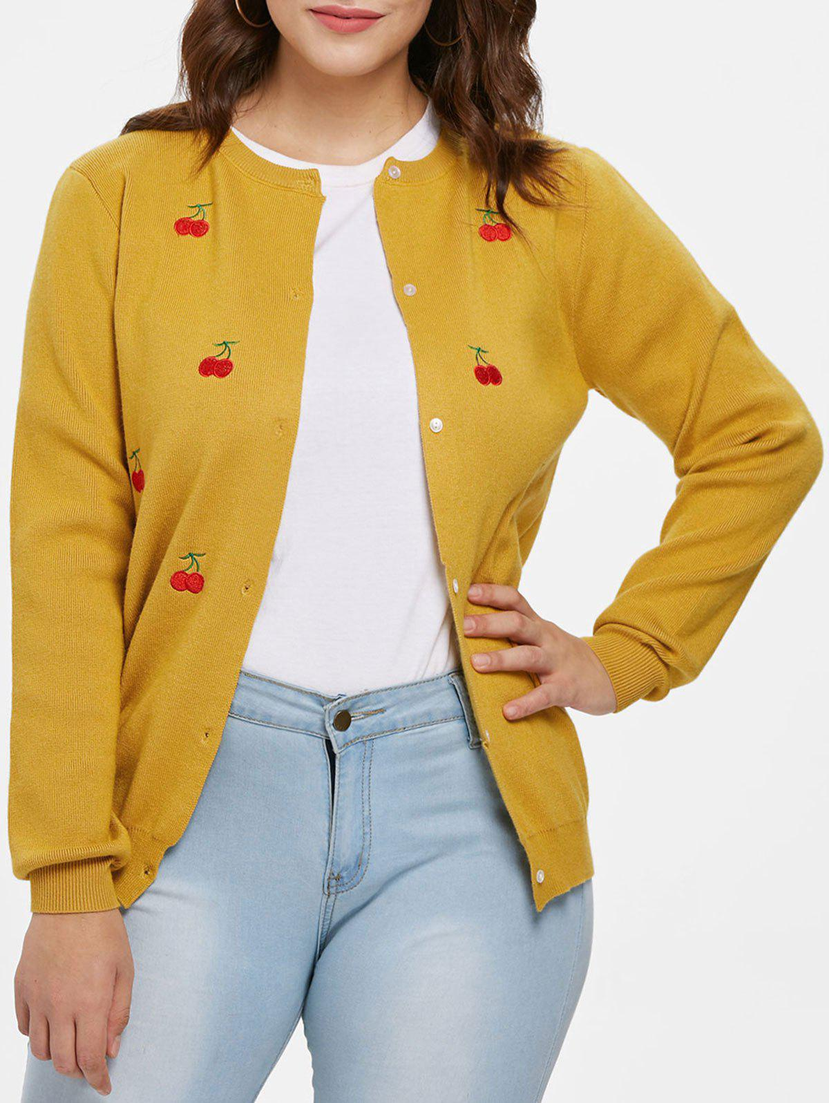 Trendy Plus Size Cherry Patch Cardigan
