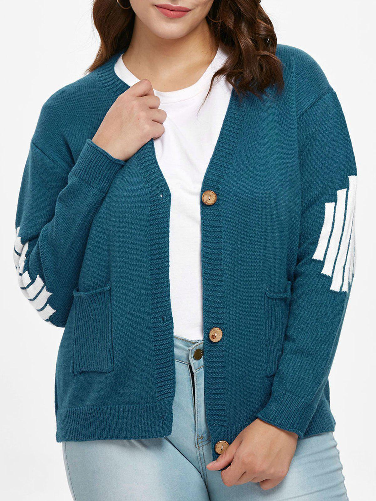 Cheap Plus Size Color Block Sweater Cardigan