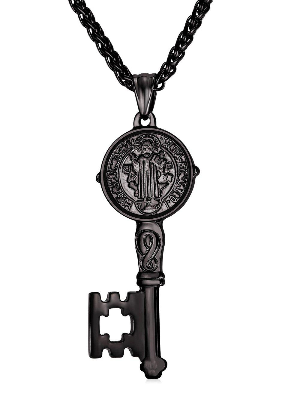 Latest Statement Carving Key Alloy Pendant Necklace