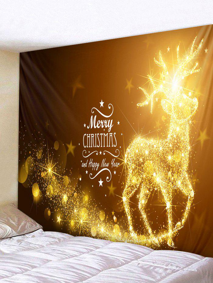 Shop Merry Christmas Elk Printed Wall Tapestry Art Decoration