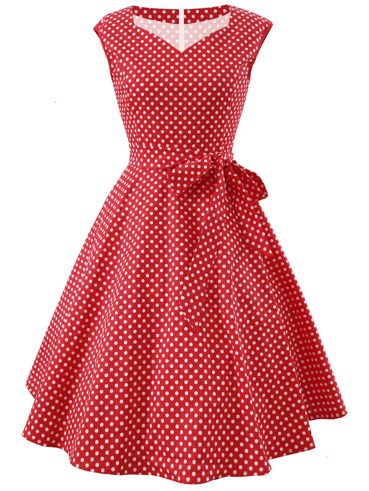 Store Vintage Dotted Fit and Flare Dress
