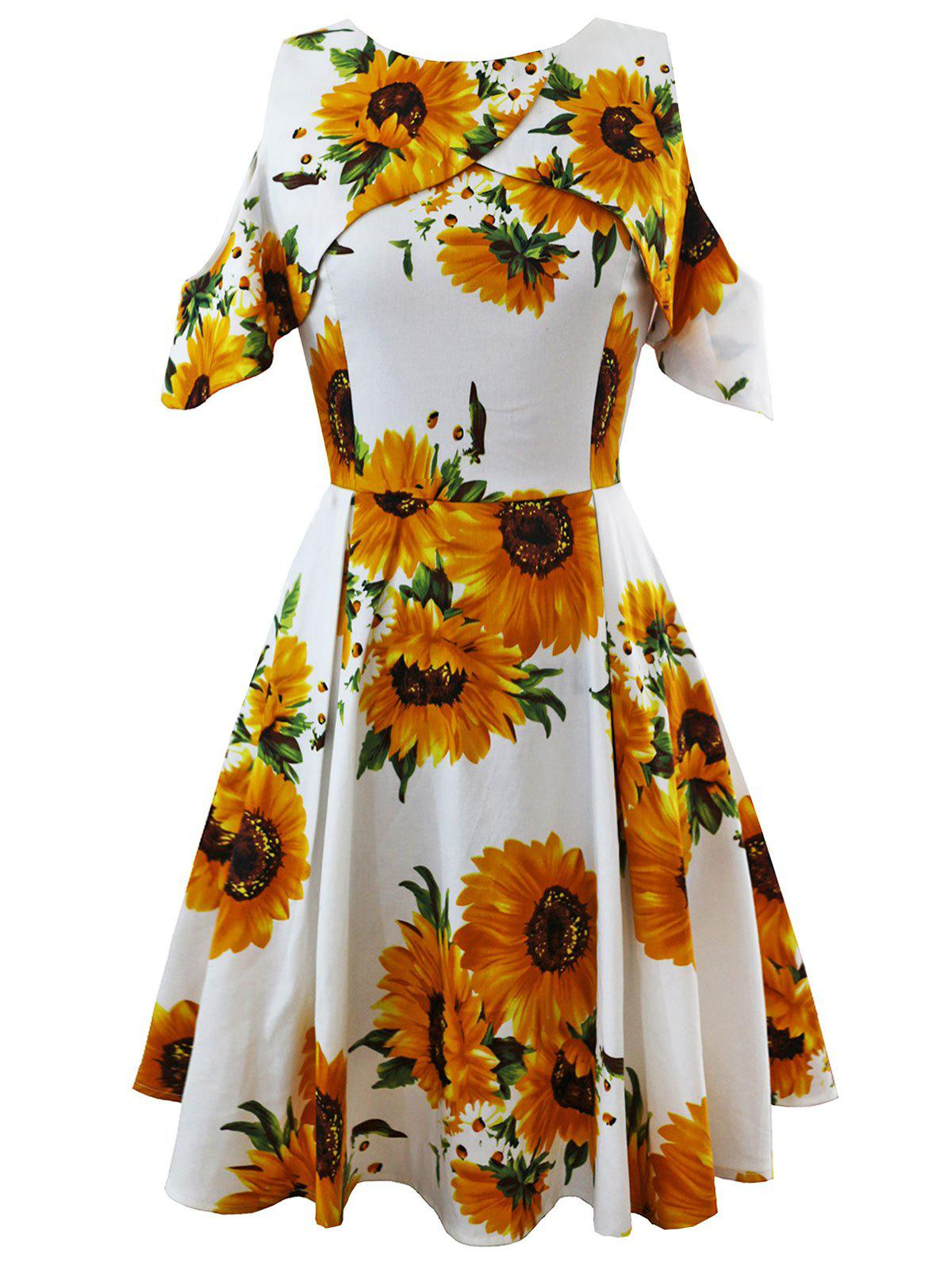 Outfits Cold Shoulder Sunflower Print Vintage Dress