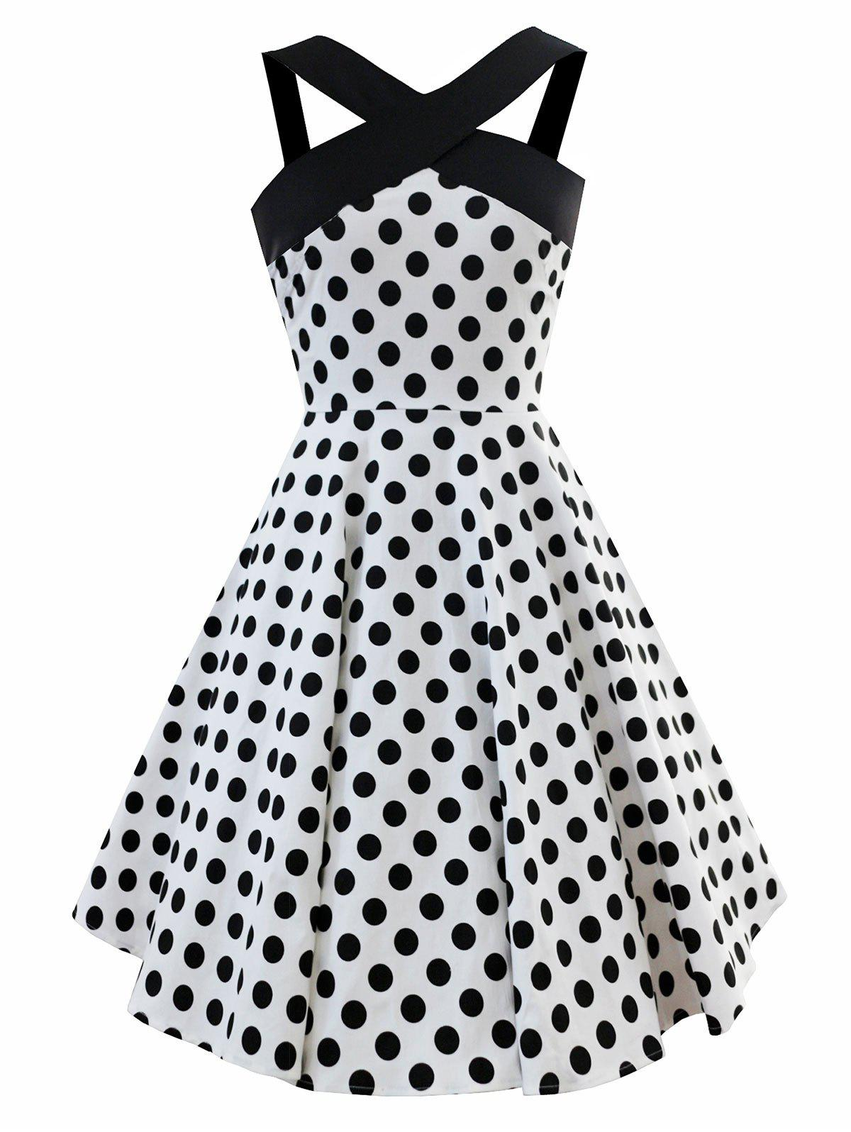 Discount Vintage Polka Dot Fit and Flare Dress