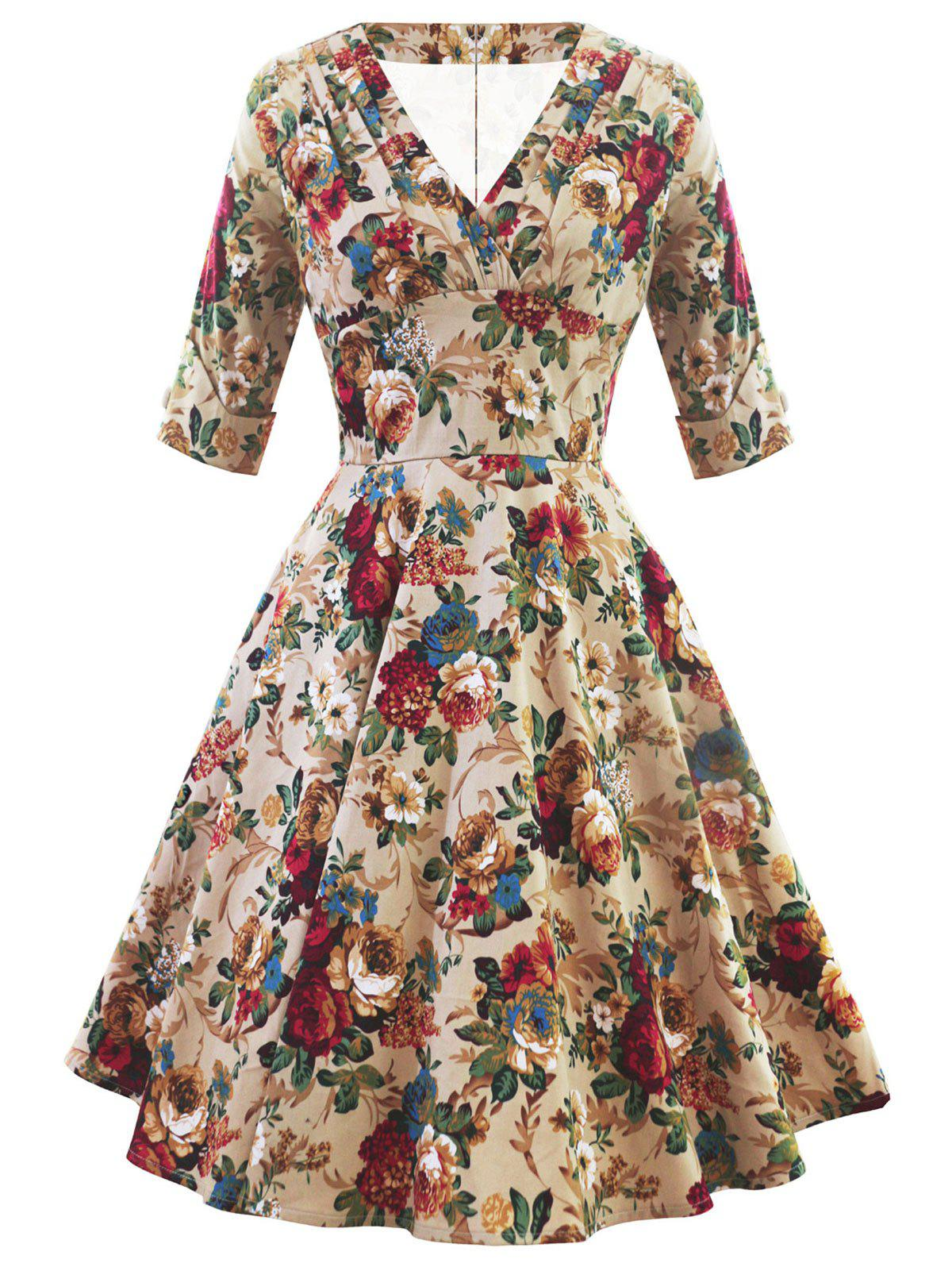 Affordable Retro V Neck Floral High Waist Dress