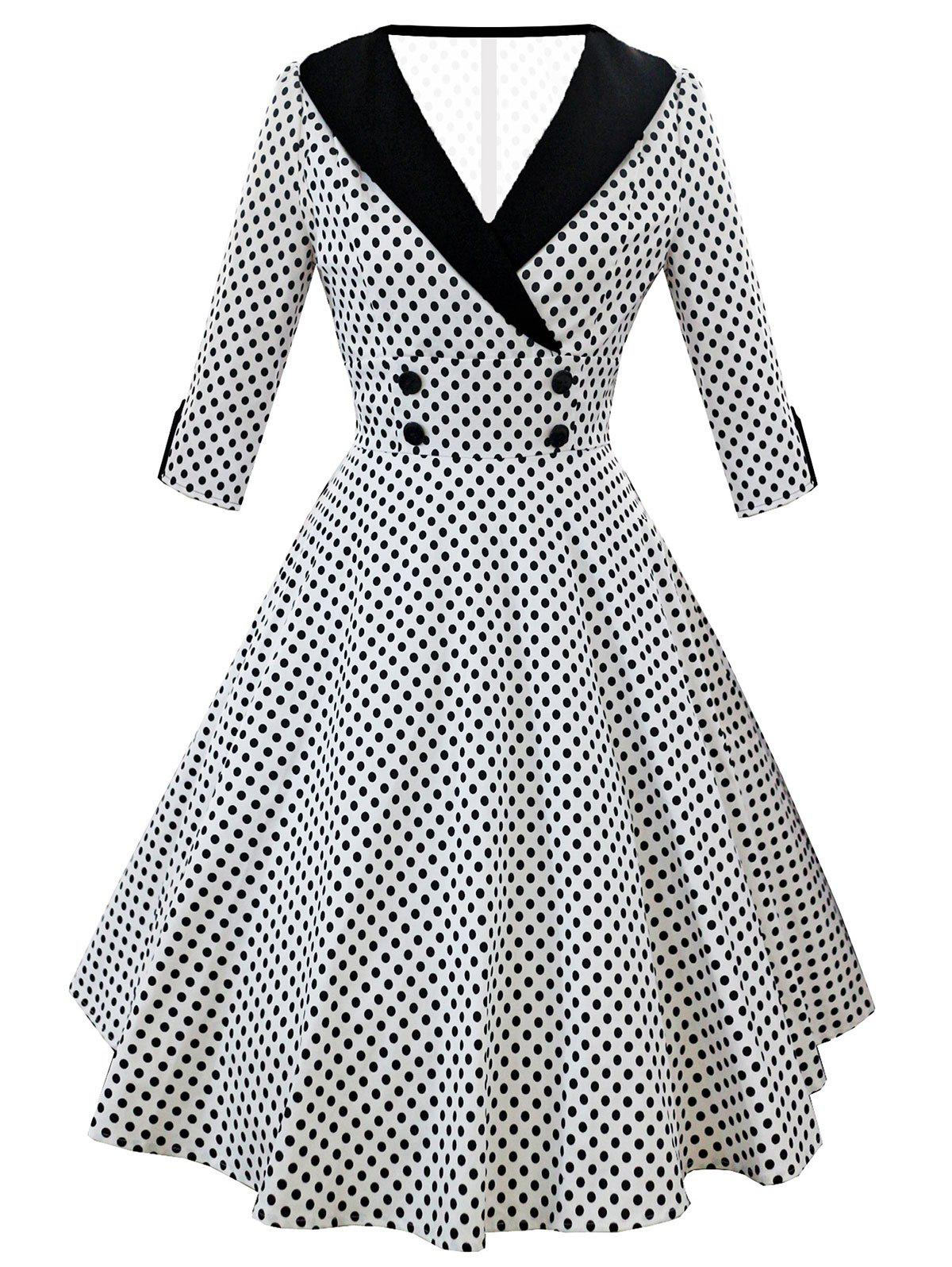 Cheap Retro Shawl Collar Dotted High Waist Dress