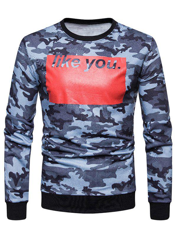 Sweat-Shirt à Col Rond avec Imprimé Camouflage et Inscription Like You Bleu L