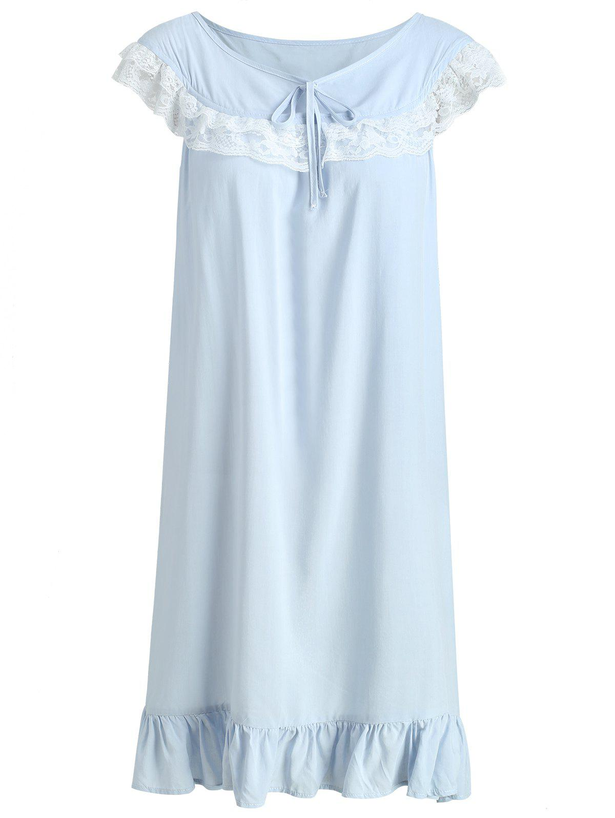 Unique Flounce Lace Insert Bowknot Sleeping Dress