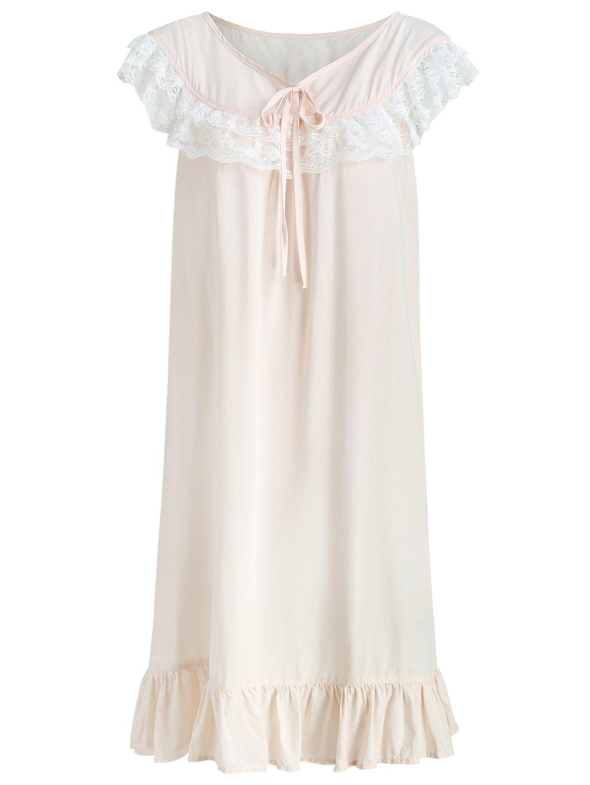 Shop Bowknot Flounce Lace Panel Sleeping Dress