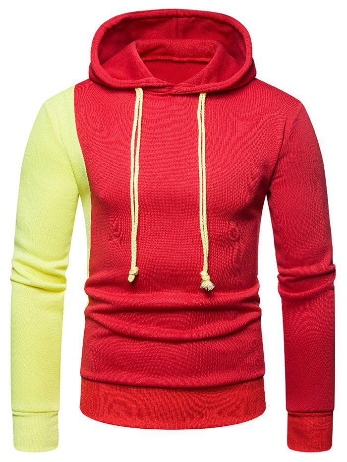 Outfit Contrast Color Long Sleeve Pullover Hoodie