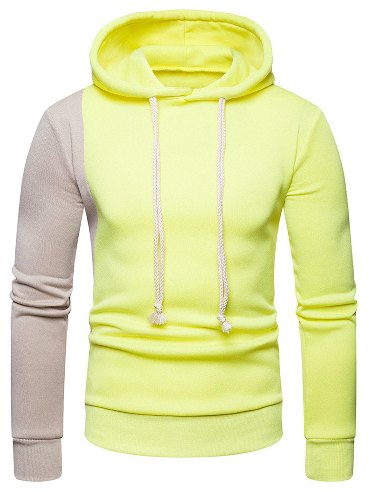 Shop Contrast Color Long Sleeve Pullover Hoodie