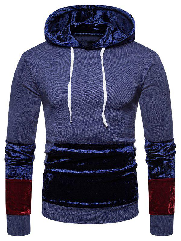 Outfit Pleuche Patchwork Big Pocket Pullover Hoodie
