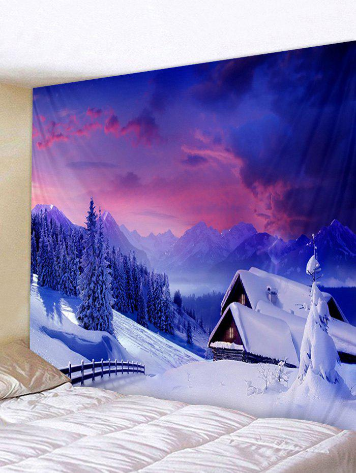 Shops Christmas Snow Cottage Printed Wall Tapestry Art Decoration