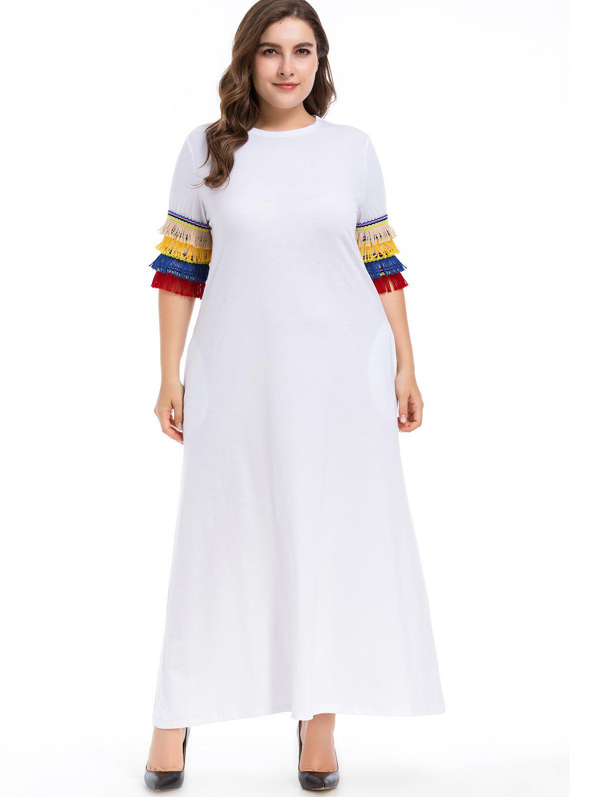 Online Plus Size Fringed Sleeve Maxi Dress