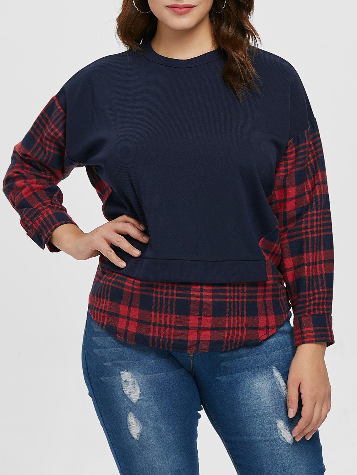 Outfits Plaid Panel Sleeve Plus Size Round Neck T-shirt