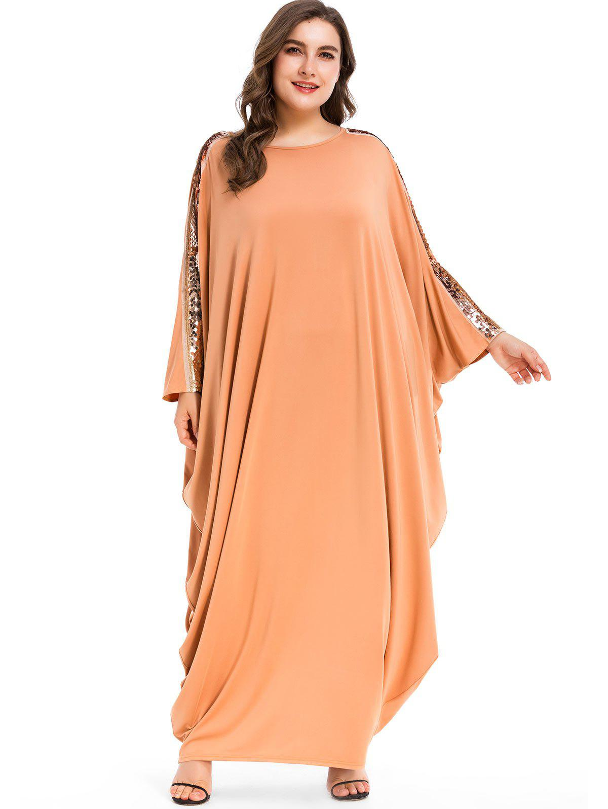 Affordable Sequins Batwing Sleeve Plus Size Maxi Dress